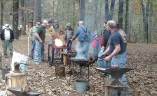 New-member-on-the-right-is-Carl-Steyer-resident-blacksmith-at-Parker-Homestead-in-Harrisburg-AR